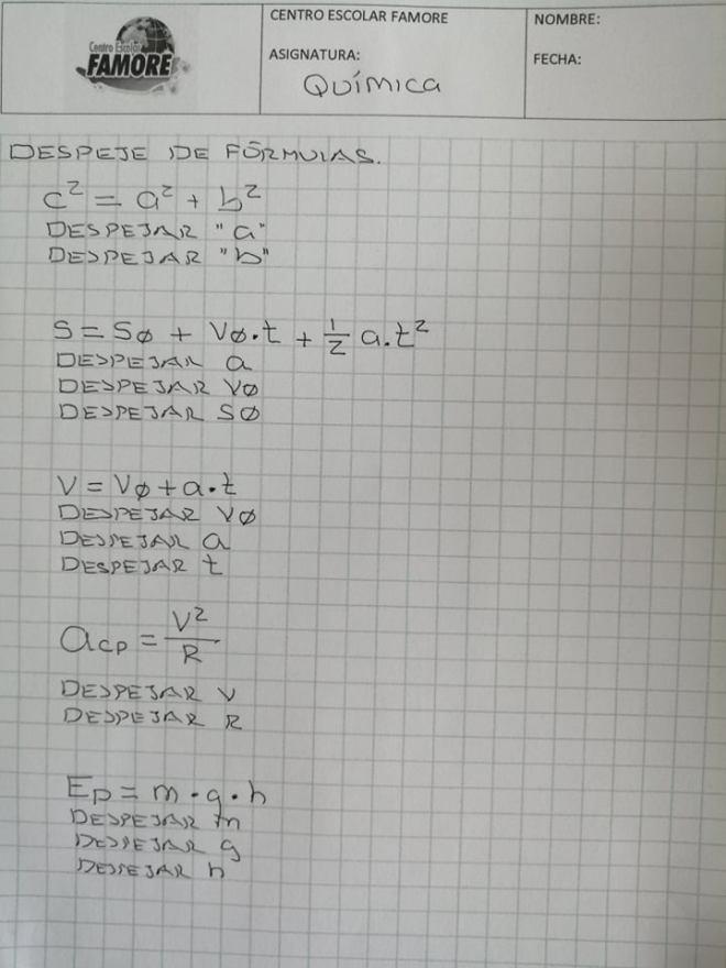 HOJA DE TRABAJO química